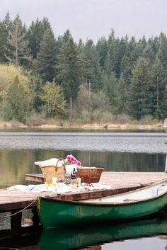 A lakeside picnic for two.