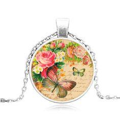 Butterfly Glass Cabochon Necklace