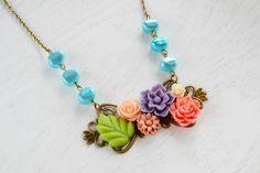 Flower NecklaceDaisy PendantPurpleCoral PinkShabby by KimFong