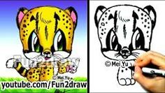 How to Draw Animals - How to Draw a Baby Cheetah - Cute Art - Cute Animal Drawings, Animal Sketches, Cute Animal Videos, Cute Animal Pictures, Cartoon Tutorial, Baby Cheetahs, You Draw, Easy Drawings, Amazing Drawings