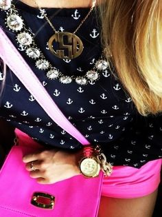 Pink Chino Shorts, Navy Anchor Top, Crystal Statement Necklace and Monogrammed Necklace