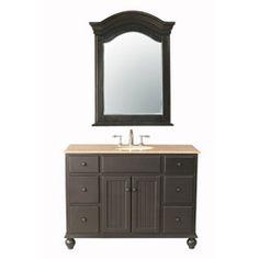 Bathroom Vanity Sink - 48-inch Single Bowl with Travertine Marble Top - Alvina by Stufurhome