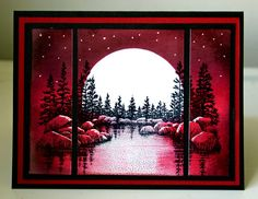 Red Sunset? back ground brayered  & sponged.  mask off white circle for moon