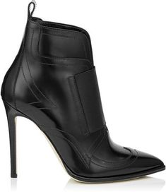 Jimmy Choo MAZZY 110 Black Shiny Leather and Black Elastic Ankle Booties