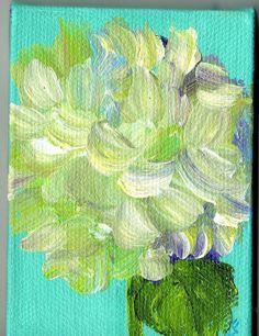 Hydrangeas Bloom on Turquoise green original  by SharonFosterArt, $22.00