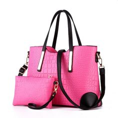 New 2016 women handbags leather hand bag michael crocodile crossbody bag shoulder messenger bags clutch tote+purse 2 sets sac