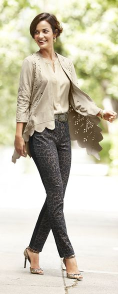 Chico's Faux Suede Cutwork Jacket and Metallic Cheetah Jegging.
