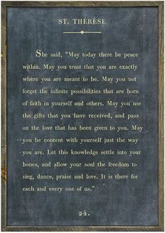 St. Therese quote wall decor