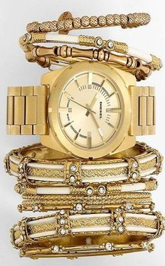 DIESEL® Watch, Spring Street Bangles & Alex and Ani Bracelets♥✤ | KeepSmiling | BeStayBeautiful
