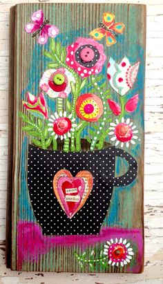 Folk Art on Reclaimed Wood Floral Springtime Decor / use pattern paper, cardstock, paint and buttons or gems Collage Kunst, Collage Art, Mixed Media Canvas, Mixed Media Art, Art Textile, Arte Popular, Pallet Art, Button Art, Whimsical Art