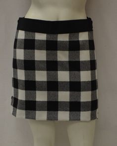 MILLY Cream/Black Plaid Mini Skirt Exposed Double Side Zip