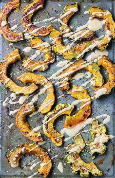 Easy & delicious Sweet & Spicy Roasted Squash! Use acorn, sweet dumpling, carnival etc. Vegan & paleo-friendly.