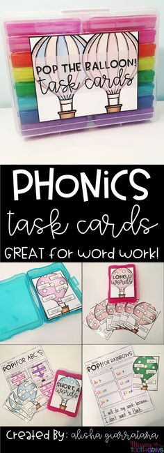 Use these task cards every week to match the phonics skill you are teaching! Includes fun activities like stamping, rainbow writing, sentence writing, and so much more!