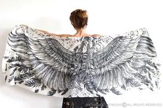 Wings+scarf,+bohemian+bird+feathers+shawl+in+White+from+SHOVAVA+by+DaWanda.com