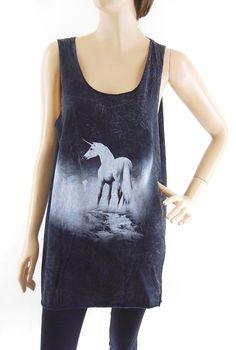 Unicorn Shirt Unicorn Tank Top Unisex Tshirt Women Tshirt Men Tshirt Bleached Black Shirt Top Tunic Sleeveless Size M