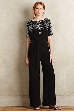Anthropologie EU Acacia Embroidered Jumpsuit