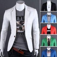 Para hombre hombre Casual Calce Entallado Formal Un Botón Traje de abrigo chaqueta blazer Top Elegante