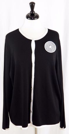 Sag Harbor 2X Cardigan Black White Career Button Front Long Sleeves #SagHarbor #Cardigan #Work