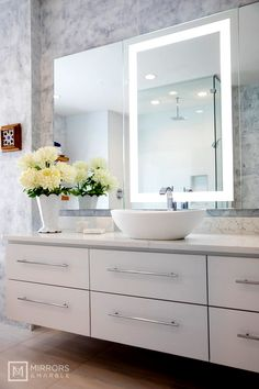 Mirrors and Marble™ brand commercial grade wall-mounted rectangular LED bathroom vanity makeup mirror, 32 inches wide, 36 inches tall. Bathroom Vanity, Bathroom Vanity Mirror, Bathroom Interior, Bathroom Decor, Vanity, Lighted Vanity Mirror, Bathroom Interior Design, Mirror, Bathroom Design
