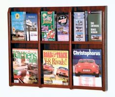 Wooden Mallet 6-Magazine/12-Brochure Divulge Wall Display with Brochure Inserts, Mahogany Wooden Mallet  Add our optional accessory legs to create a floor display Available wood finishes perfectly compliment Wooden Mallet's Dakota Wave reception seating collections All Wooden Mallet products are warranted for one year against defects in materials and workmanship Made in the USA Pocket Dimensions: 9-Inch W x 2-Inch D x 12-Inch H, removable inserts reduce pockets to 4 1/2-Inch W for br..