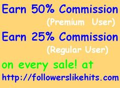 Start your own Online Business and  Earns 50% Commission (if Premium  User)  or 25% Commission (if Regular User) on every sale by Affiliates ! at www.followerslikehits.com Free Followers, Free Website, Online Business, Marble, Places To Visit, How To Get, Books, House, Ideas