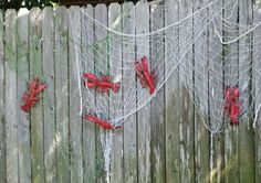 Crawfish boil party decorations.  You may think they are lobsters but everything is bigger in Texas!