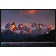 East Urban Home 'Cuernos Del Paine at Dawn and Lago Pehoe' Framed Photographic Print on Canvas Size: