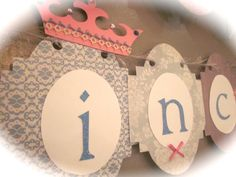 Happy first 1st Birthday Banner girl birthday party sign decorations shabby chic vintage style PRINCESS party tiara wand blue and white on Etsy, $25.50