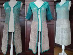 Kleid, Weste und Mantel mit Kapuze: 2-Bobbel-Projekt Gr. S-L 3in1  Häkelanleitung für ein schlichtes ärmelloses Kleid mit Kapuze, eine lange Weste mit Kapuze und schmaler Zierblende oder einen Mantel mit halbem Arm für die schon kühleren Abende. Der