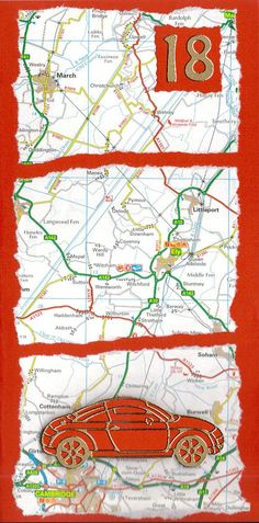 handmade cards for men | This 18th Birthday card features a map background and a car. The age ...