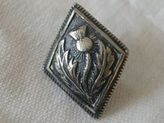 Small VINTAGE Silver Scottish Thistle Flower Button by abandc
