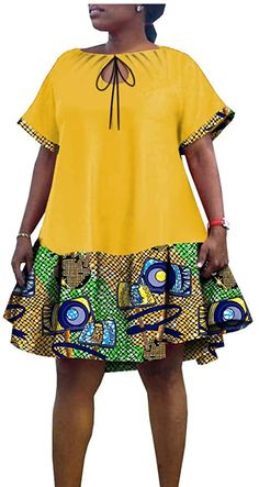 African Dresses for Women Ankara Wax Print Plus Size Short Sleeves Traditional Casual 591 8 5X at Amazon Women's Clothing store African Fashion Ankara, Latest African Fashion Dresses, African Dresses For Women, African Print Fashion, African Attire, Short Ankara Dresses, African Inspired Clothing, African Print Dress Designs, Couture