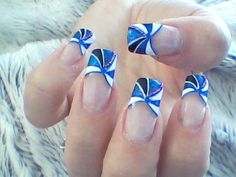 Blue tip, prom, nail art design,  for tutorial visit my channel www.youtube.com/user/MyDesigns4You                                                                                                                                                                                 Más