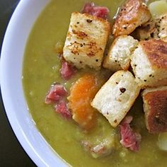 Welcome in the cooler weather with this Chunky Split Pea Soup and Homemade Croutons!