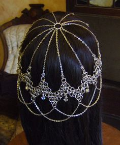 Steel / Crystal Chainmail Headdress by CaravanCloset on Etsy, $150.00