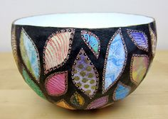 Paper Mache Bowls with Gelli™ Prints!  The Gelli-printed pieces are the last layer. Arrange the cut, torn or punched pieces and glue them to the bowl. Decorate the surfaces of the bowl, as you like. Let it dry, then varnish with a few more layers of Mod Podge or your favorite medium.