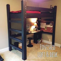 Loft Bed DIY -So, this loft bed for number four is a departure from his fine fur. Loft Bed DIY -So Build A Loft Bed, Loft Bed Plans, Loft Twin Bed, Diy Bed Loft, Queen Loft Beds, Adult Loft Bed, Bunk Beds With Stairs, Kids Bunk Beds, Loft Bunk Beds