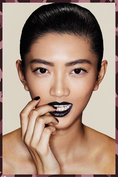 """The Perfect Dark Lipstick For Your Skin Tone #refinery29  http://www.refinery29.com/dark-lipstick-for-different-skin-tone#slide-2  Dark Hair + Dark Eyes + Cool UndertonesBlack lipstick has gotten a bad rap in recent years. Long heralded as only for goth kids or Rihanna, Dedivanovic assures us that black is totally wearable. You just have to know what you're doing.Firstly, Dedivanovic opted for black on our model because of the rest of her features. """"She's got very dark eyes, dark hair, and…"""