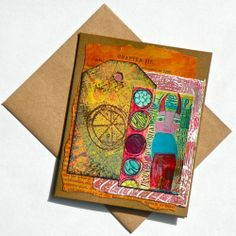 """Chapter Three"" - A Handmade Note Card featuring Hand Painted Elements and a print, too!"