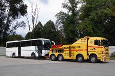 Pomoc Drogowa Szkwarek - Holownik ciężarowy Scania holuje Autobus. Holowanie Niemcy, Świecko, Słubice - Osobowe, Busy, Ciężarowe + 48 95 758 2341