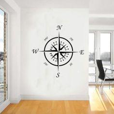 Nautical compass wall art,navigation,sticker,stickers,vinyl,decor,decal,wa023