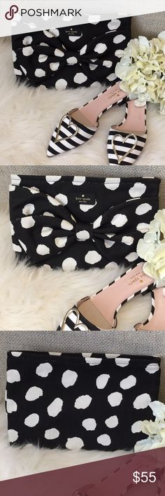"Kate Spade Polka Dot Clutch NWOT Adorable cotton clutch by Kate Spade in a cute black and white polka dot design with decorative bow front. Zippered top closure, leather wrist strap. 10"" x 7"" Pair with Kate Spade striped mules, also available from my closet! New without tags. kate spade Bags Clutches & Wristlets"