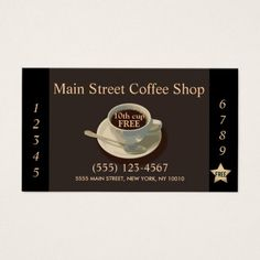 Coffee Shop Customer Loyalty Punch Business Card