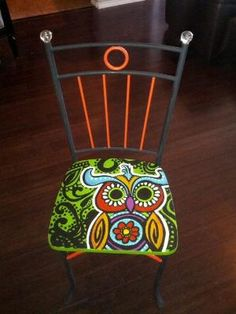 hand painted owl chair by ana