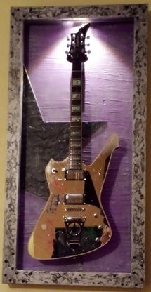 """KISS - Paul Stanley - shattered mirror  Guitar Display Case """"The Stanley"""" DELUXE Shadow Box w/ LED light"""