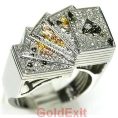10K GOLD MENS HIP HOP 0.50 CTW DIAMONDS HIP HOP RING