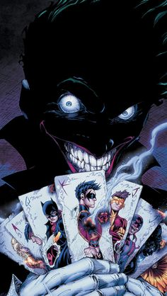 The Joker's reign of terror hits this week's Teen Titans The Clown Prince of Crime claims to know the real identities of Batman and his allies. The Joker declares he must kill Bruc… Comic Book Characters, Marvel Characters, Comic Character, Comic Books Art, Comic Art, Nightwing, Batwoman, Marvel Dc Comics, Marvel Avengers
