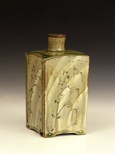 Phil Rogers Press-Moulded Bottle, Hakeme and Incised Decoration  Stoneware