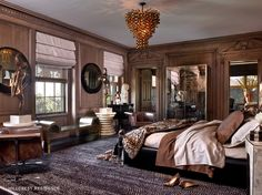 Lovely bedroom, from Kelly Wearstler.  I really like the floor covering and the light fixture.