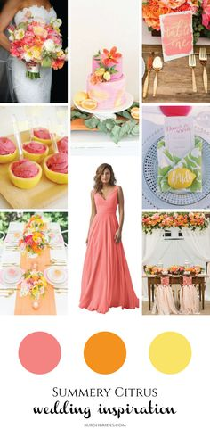 Citrus Wedding Inspiration for Every Summer Bride from Burgh Brides! Pink Yellow Weddings, Orange And Pink Wedding, Orange Pink, Winter Wedding Hair, Spring Wedding Colors, Wedding Colours, Wedding Summer, Wedding Themes For Summer, Winter Bride